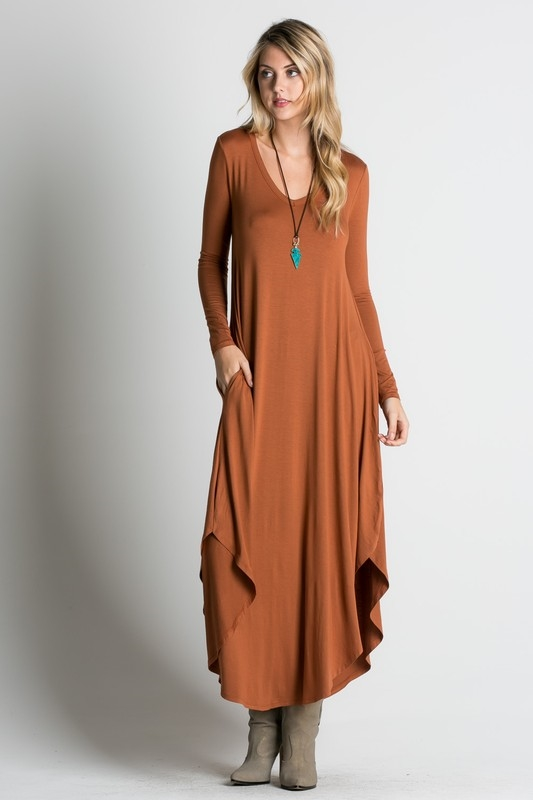 Loose fit long sleeve maxi dre - orangeshine.com