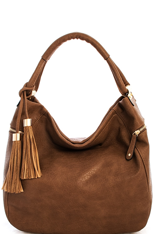 Trendy Double Tassel Hobo Bag - orangeshine.com
