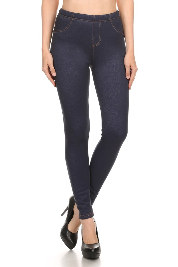 Fur Lined Jeggings Navy Black - orangeshine.com