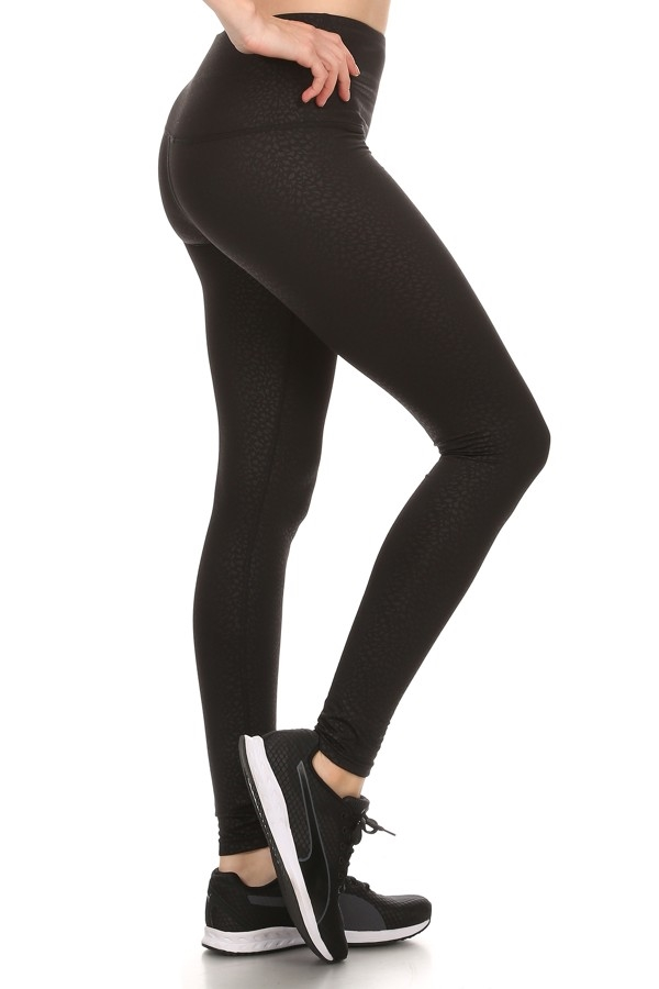 Black Embossed Fleece leggings - orangeshine.com