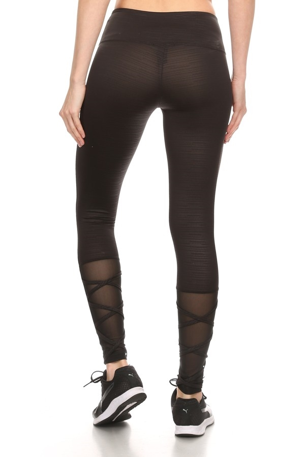 Black Embossed Mesh leggings - orangeshine.com