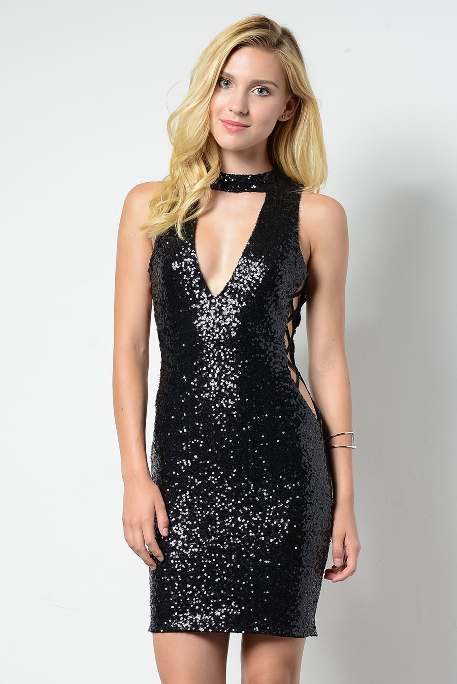SEQUIN SIDE STRAP DRESS - orangeshine.com