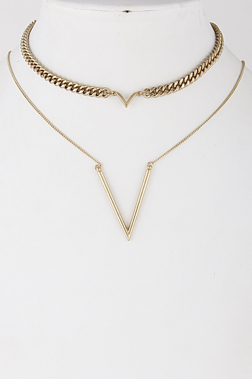 Chain Chevron Choker Set - orangeshine.com