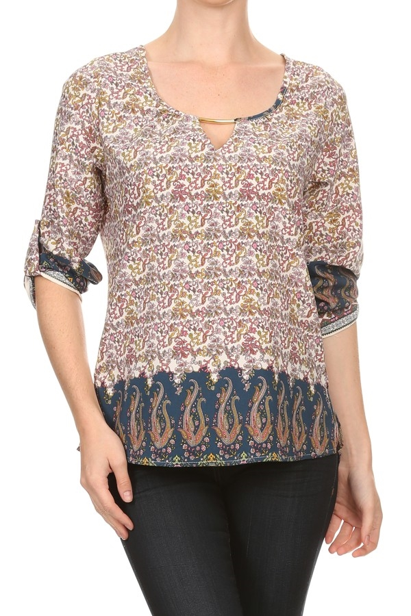 Paisley tapestry printed TOP - orangeshine.com
