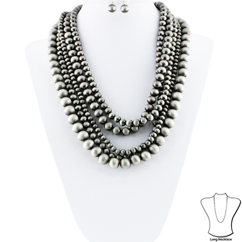 Layered Bead Necklace Set - orangeshine.com