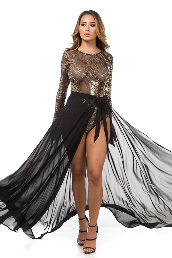 Sheer sequins skirt set - orangeshine.com