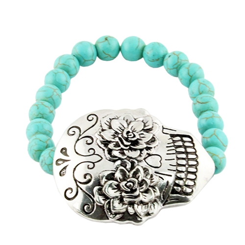Sugar Skull Stretch Bracelet - orangeshine.com