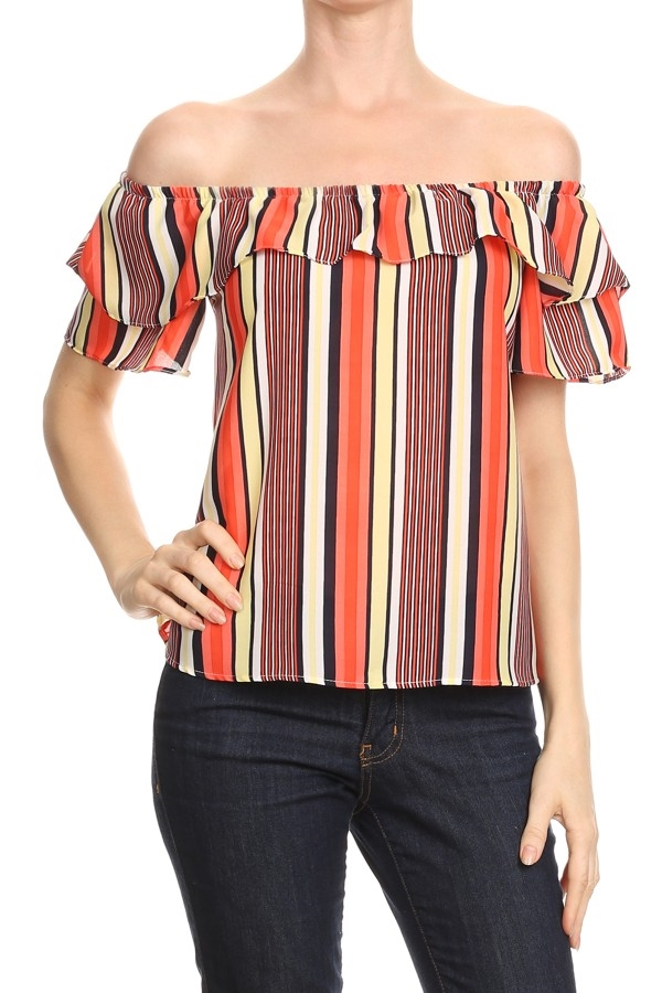 Striped Print Off Shoulder TOP - orangeshine.com