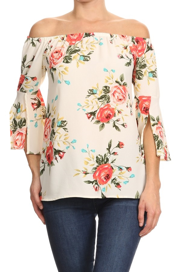 Floral Print Off-Shoulder TOP - orangeshine.com