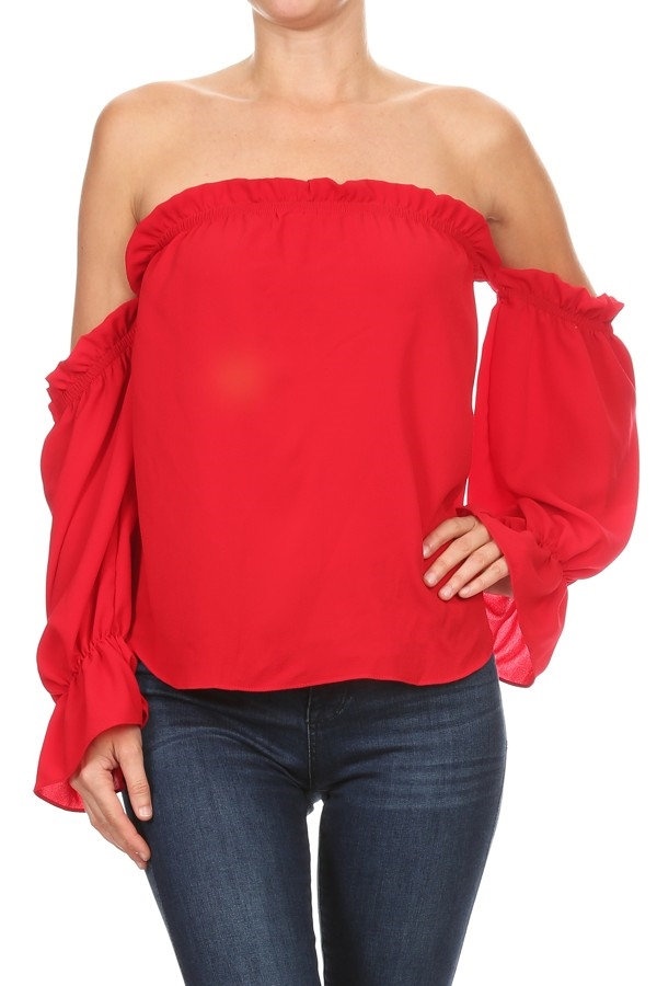 Solid Off-Shoulder TOP - orangeshine.com