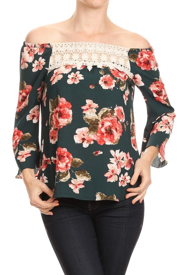 Floral Off-Shoulder TOP - orangeshine.com