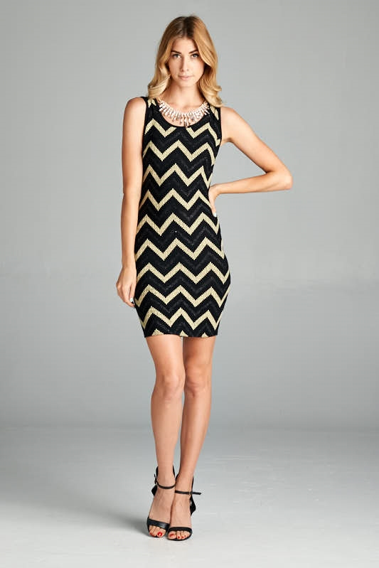GLITTER CHEVRON STRIPE DRESS - orangeshine.com