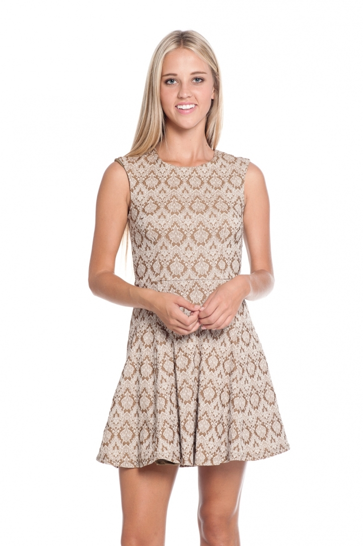 Mocha Jacquard Fit and flare dress - orangeshine.com