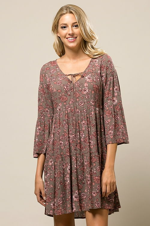 Floral Babydoll Dress - orangeshine.com