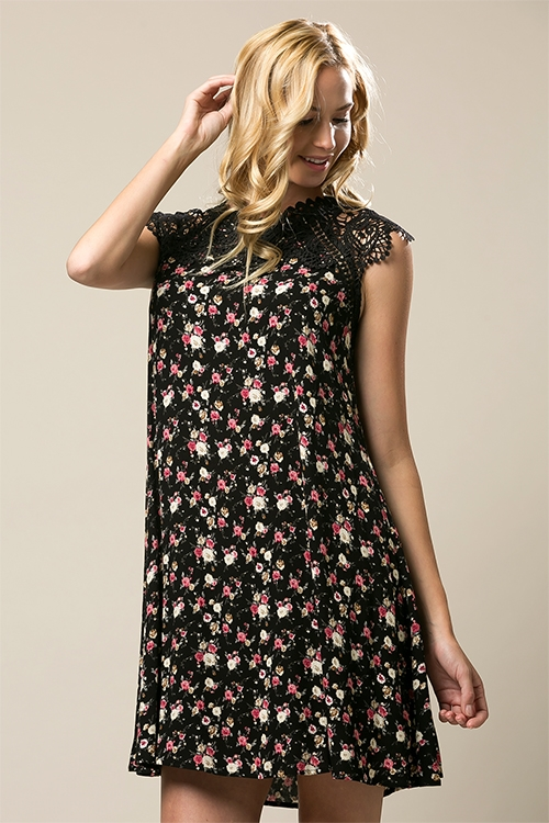 FLORAL a line dress crochet - orangeshine.com