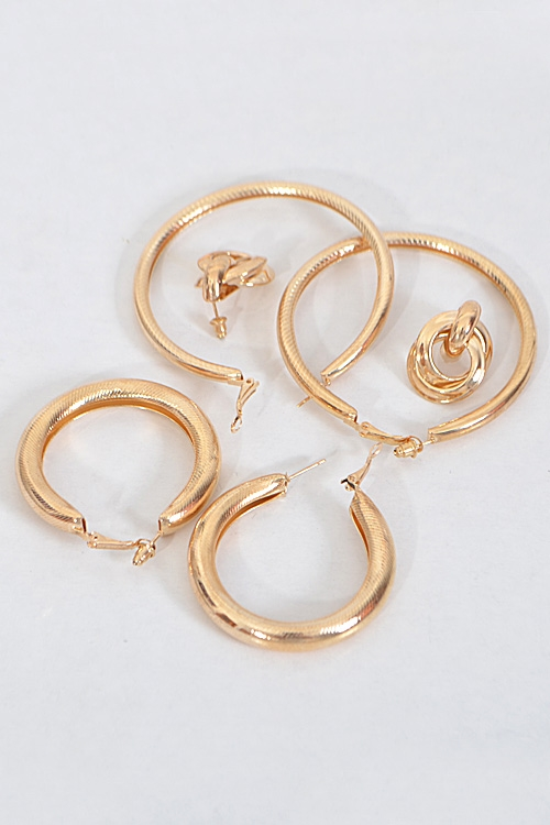 Fancy Hoop Earrings Set - orangeshine.com