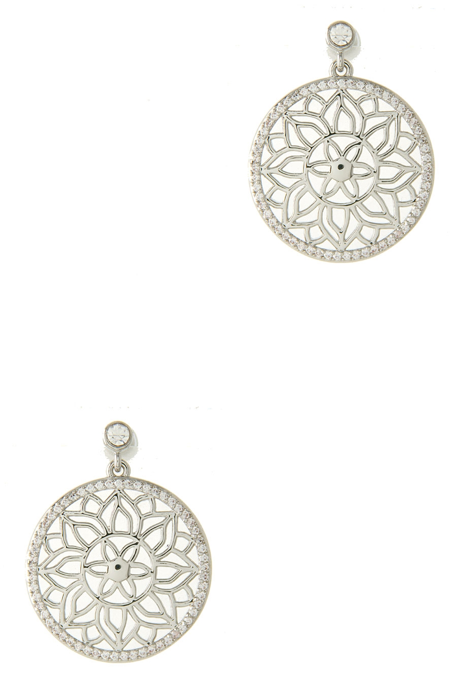 CZ ROUND CUT-OUT EARRING - orangeshine.com