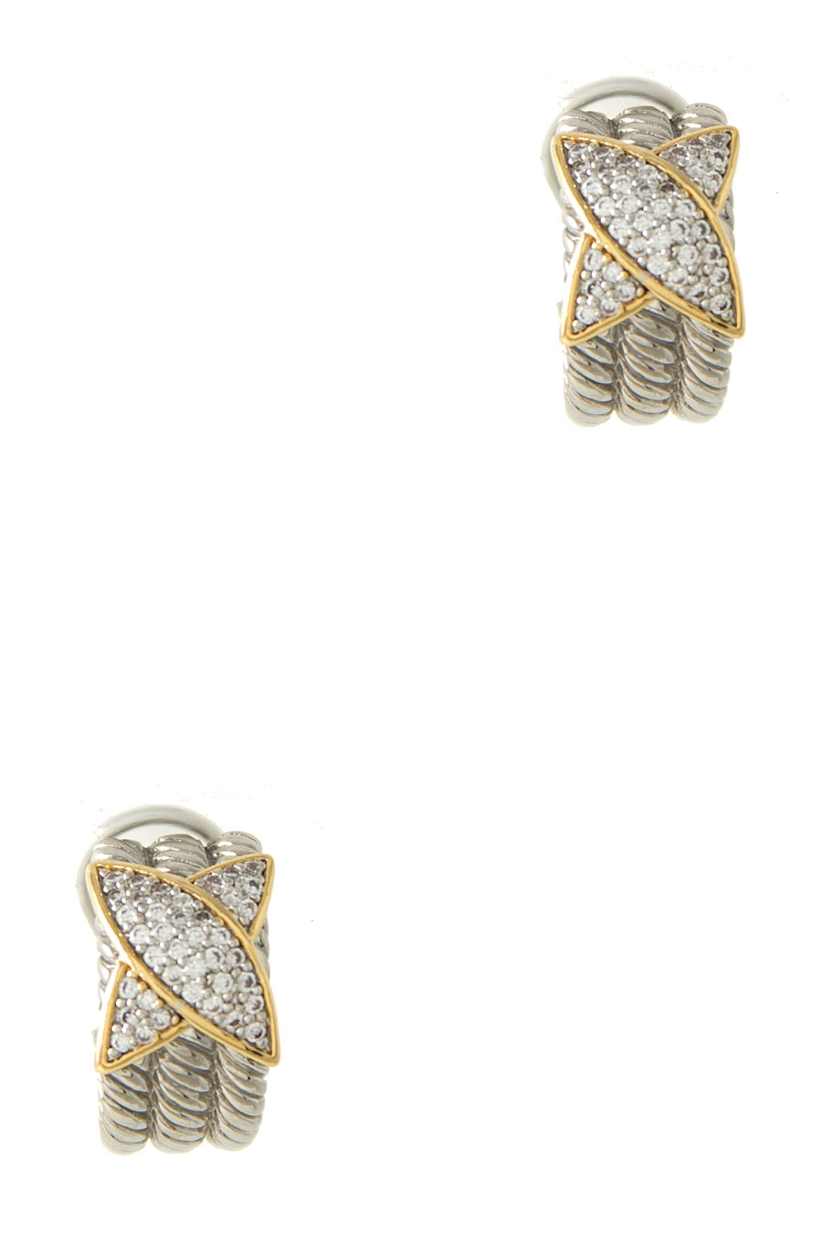 TWO TONE CROSS PAVE EARRING - orangeshine.com