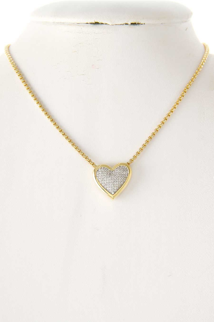 CZ HEART PAVE PENDANT NECKLACE - orangeshine.com