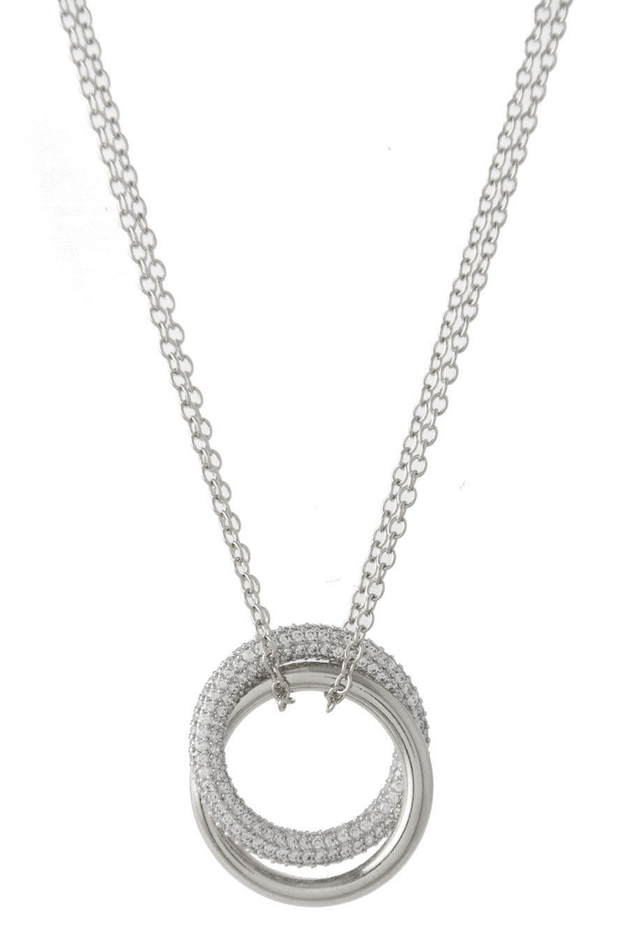 PAVE DOUBLE CHAIN NECKLACE - orangeshine.com