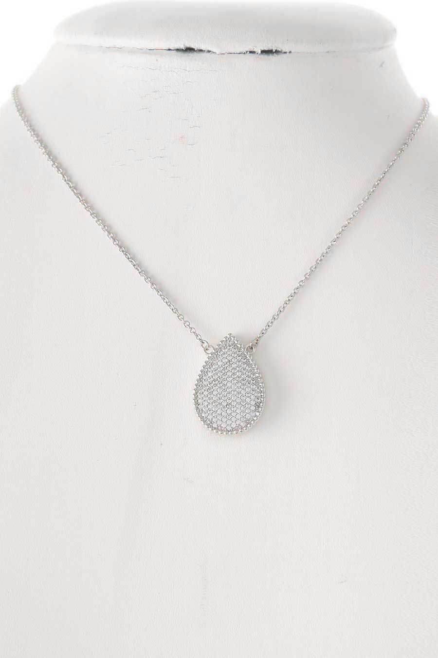CZ PAVE PEARL PENDANT NECKLACE - orangeshine.com