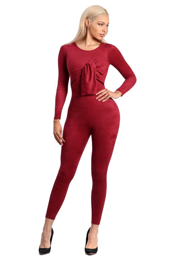 Long sleeve soft suedejumpsuit - orangeshine.com