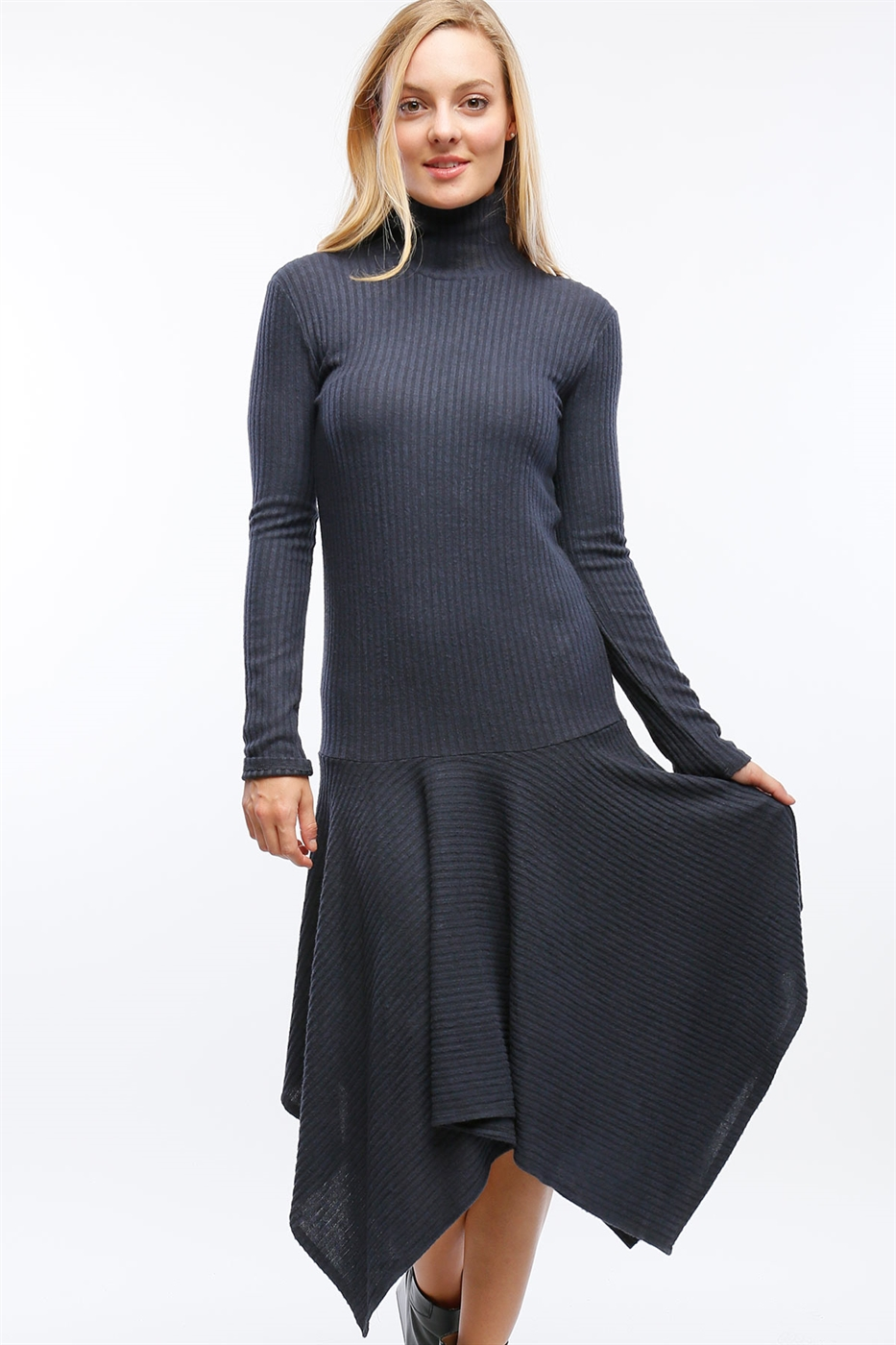 SWEATER DRESS W SHARKBITE HEM - orangeshine.com