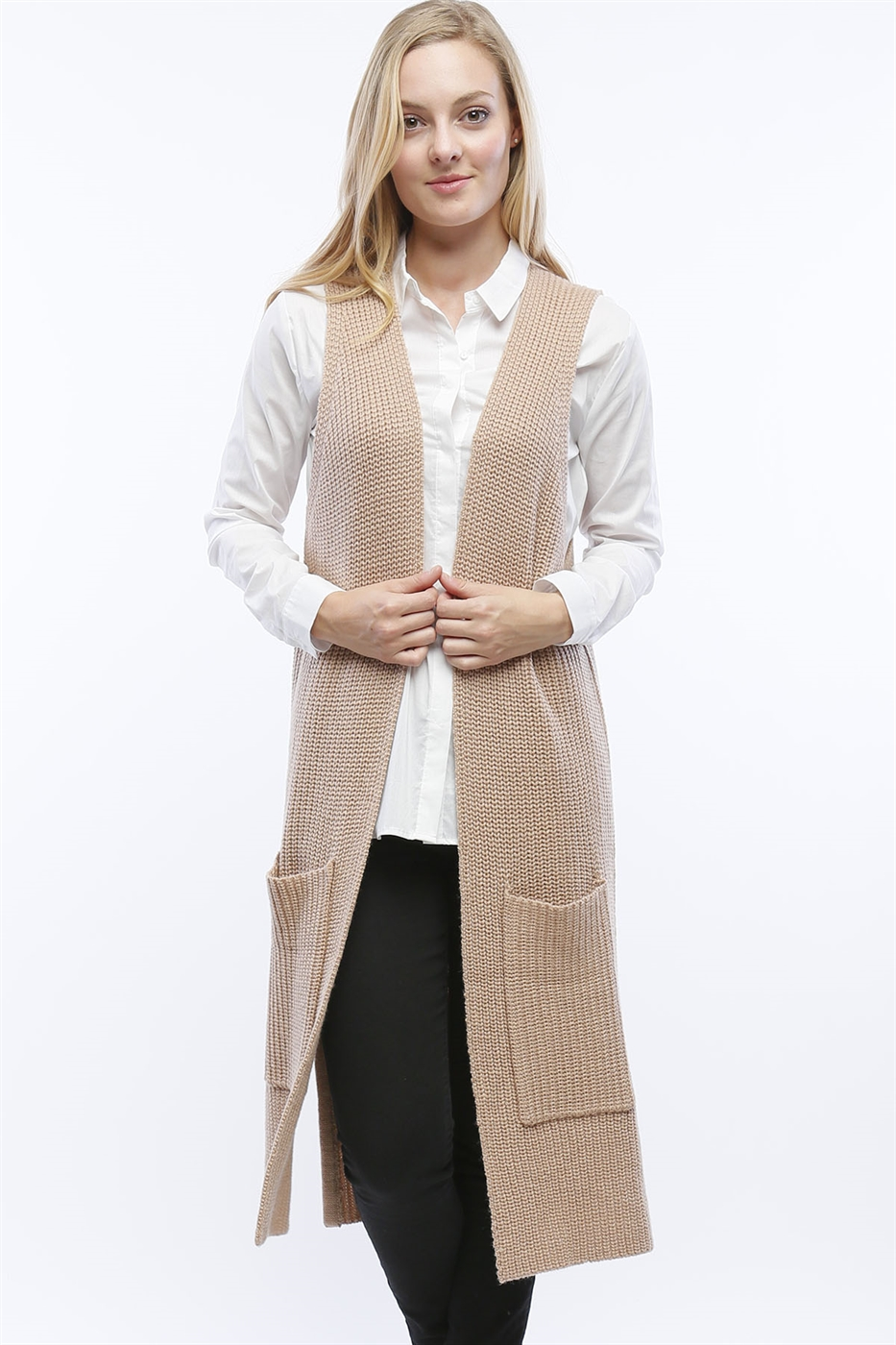 LONG DUSTER SWEATER VEST - orangeshine.com