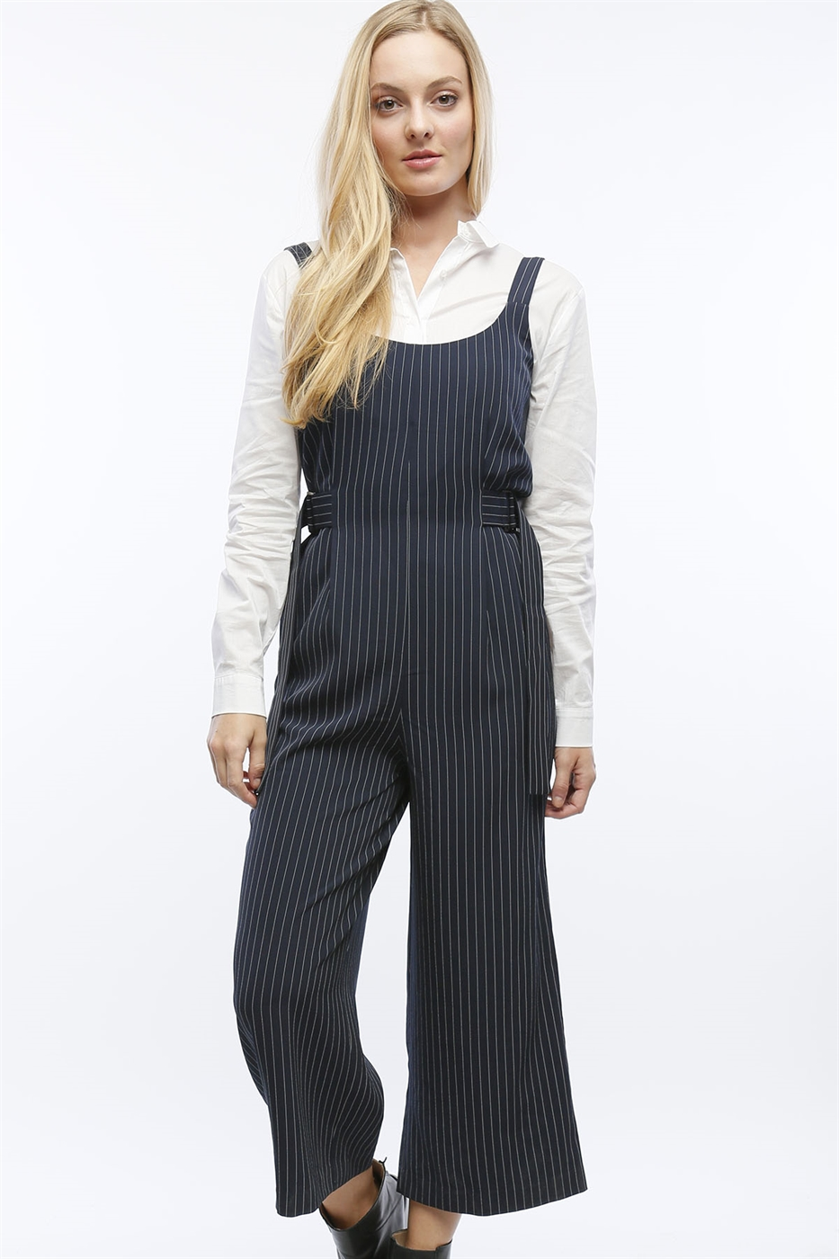 PIN STRIPE CROPPED JUMPSUIT - orangeshine.com