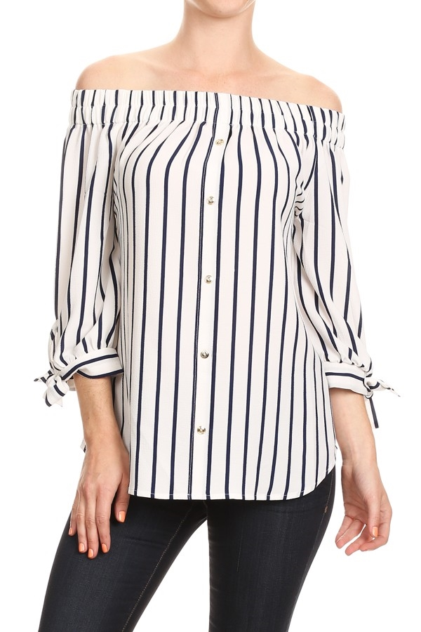 Off Shoulder 3/4 Striped TOP - orangeshine.com