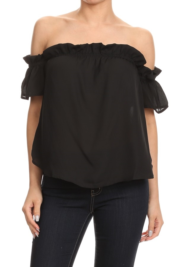 Solid Off-Shoulder Ruffled TOP - orangeshine.com