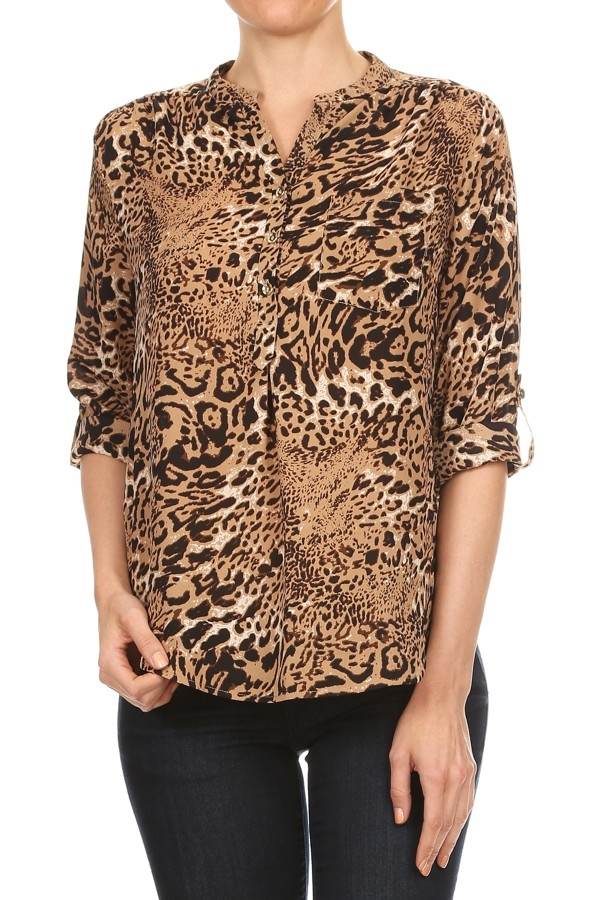 Animal Print 3/4 Sleeve TOP - orangeshine.com