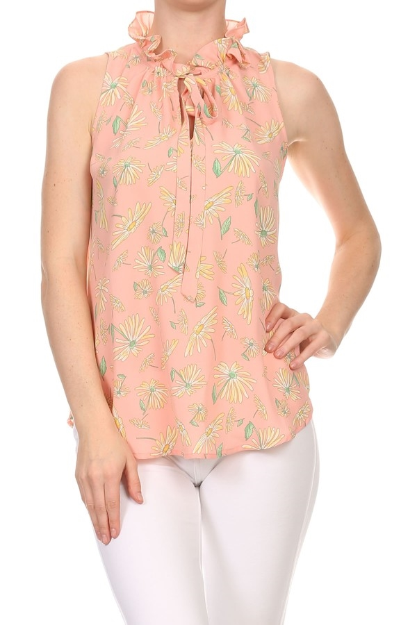 Sleeveless Daisy Print TOP - orangeshine.com
