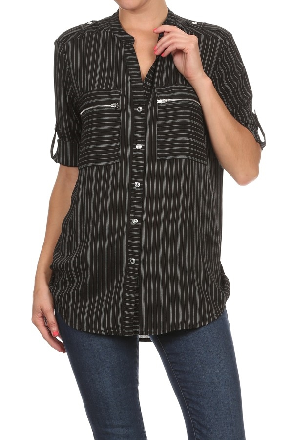 Striped 3/4 Button Down TOP - orangeshine.com
