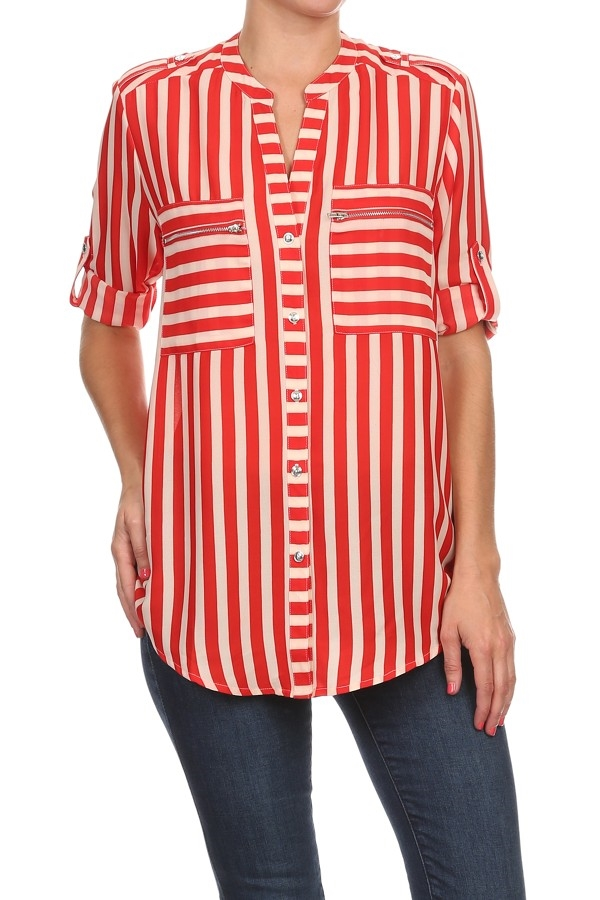 Striped Button Down TUNIC - orangeshine.com