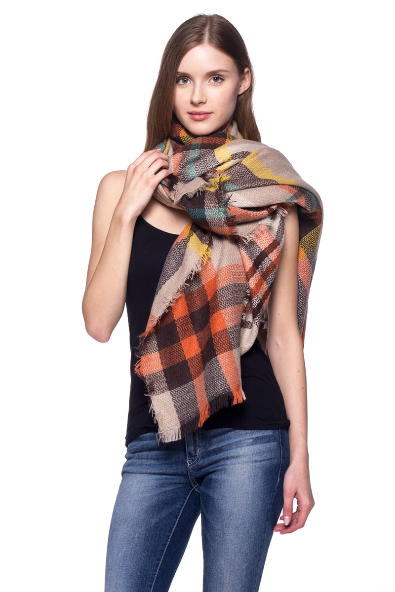 Plaid Oversized Blanket Scarf - orangeshine.com