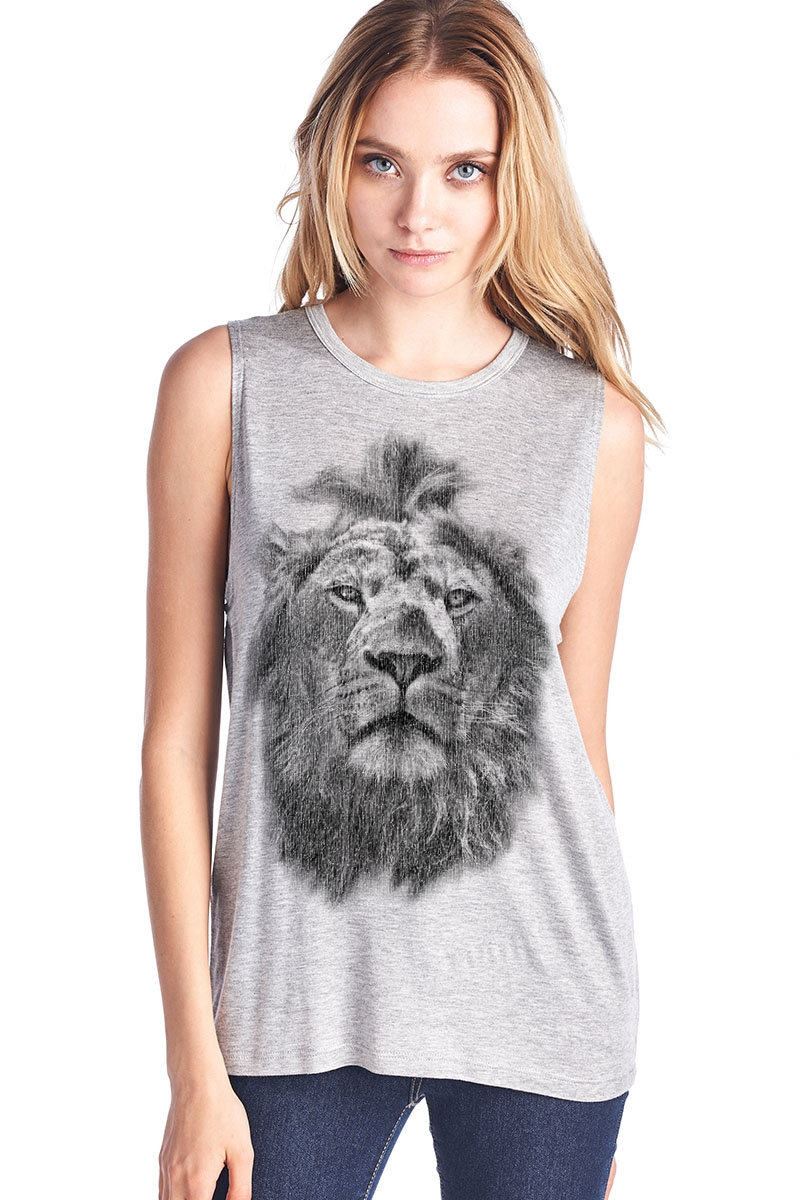 Lion Head Muscle Tank Top - orangeshine.com