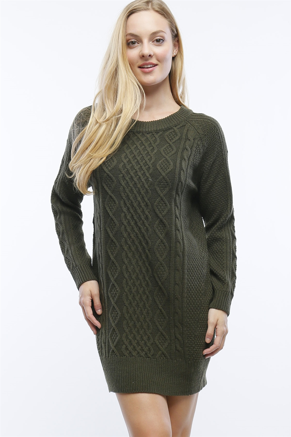 CABLE KNIT SWEATER DRESS - orangeshine.com