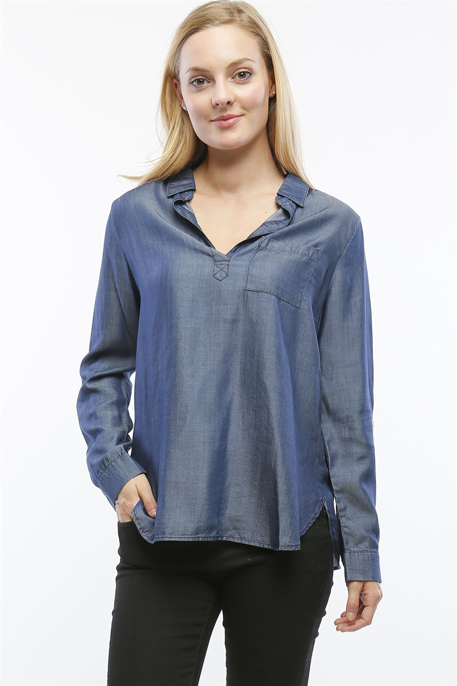 TENCEL ROLL-TAB SLEEVE TOP - orangeshine.com
