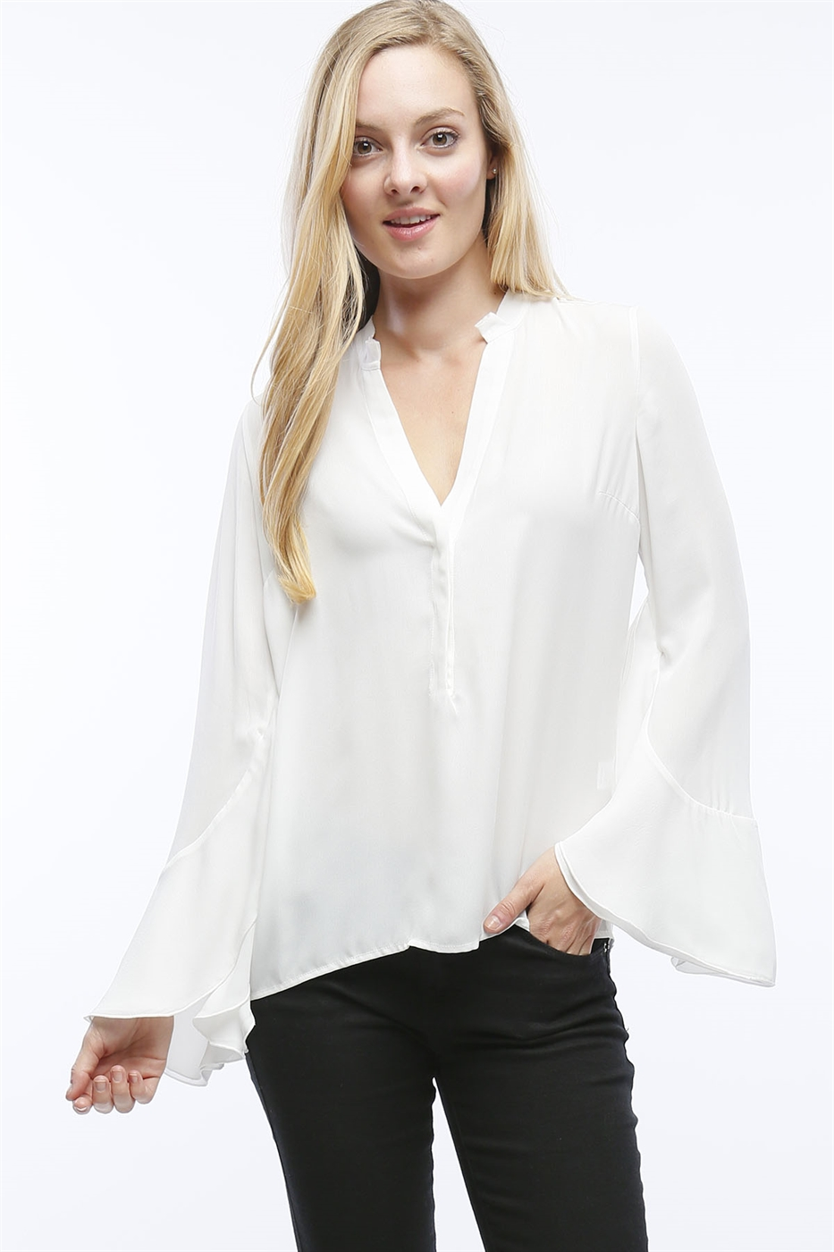 BELL SLEEVE V-NECK TOP - orangeshine.com
