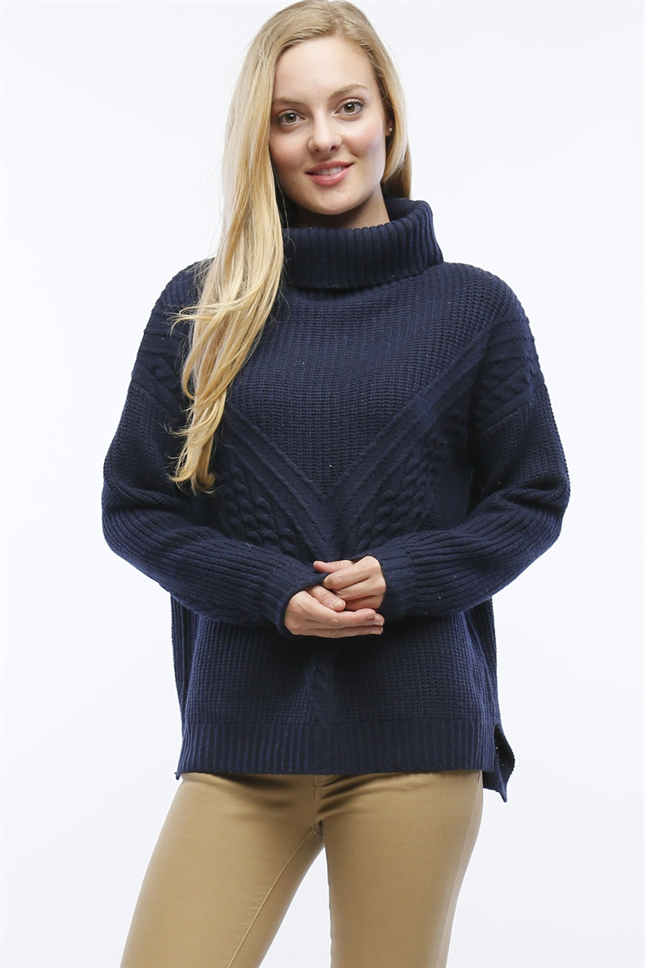 CABLE KNIT COWL NECK SWEATER - orangeshine.com