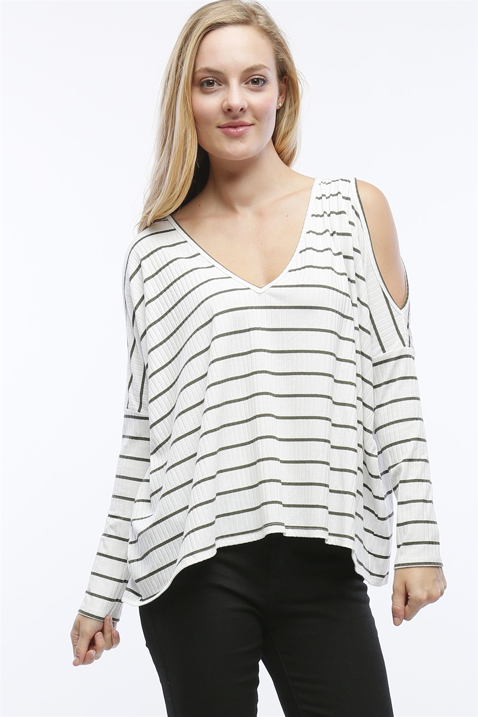 COLD SHOULDER STRIPE TOP - orangeshine.com