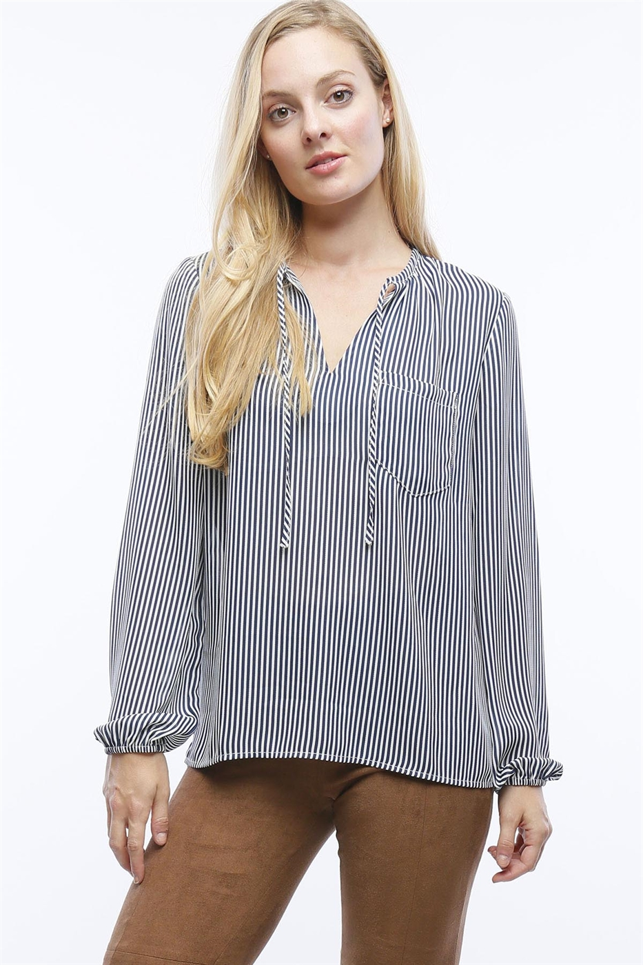 STRIPE BLOUSE WITH NECK TIE - orangeshine.com