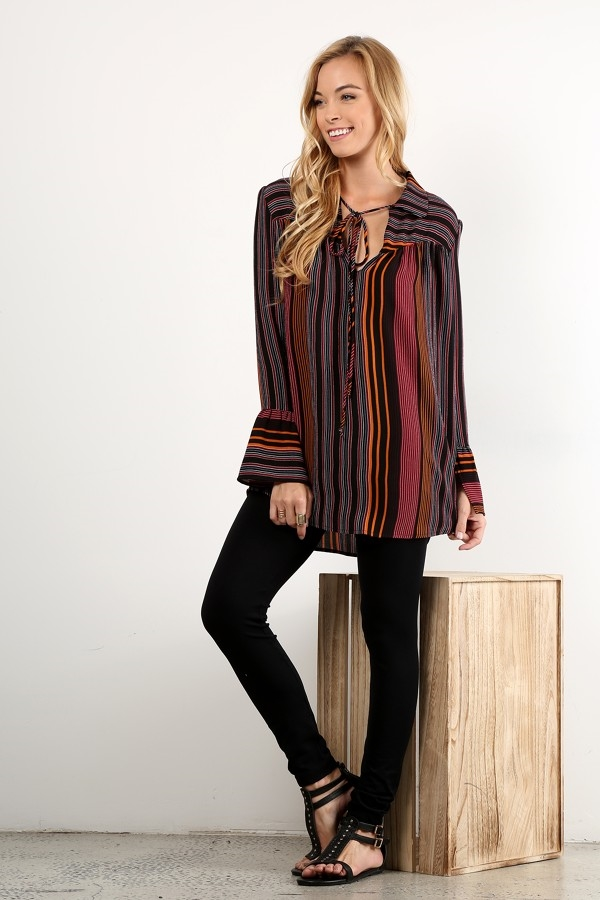 Stripe waist length TOPS - orangeshine.com