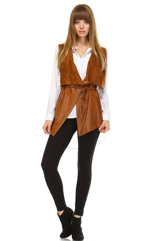 FAUX LEATHER VEST - orangeshine.com