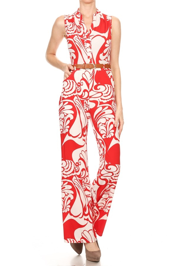Print sleeveless jumpsuit in  - orangeshine.com