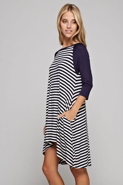 Striped rayon tunic dress - orangeshine.com
