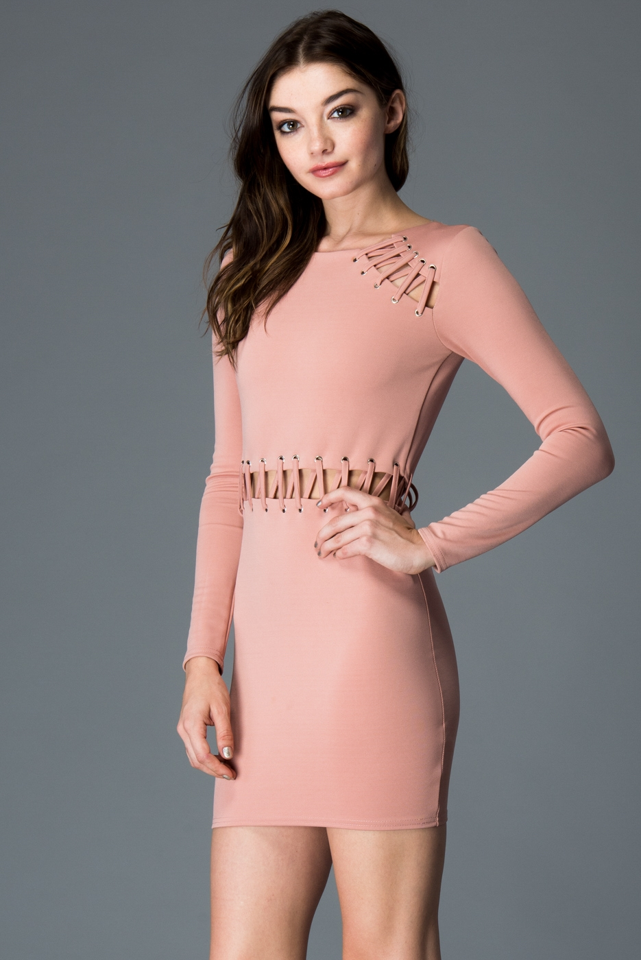 EYELET TIE BODYCON DRESS - orangeshine.com