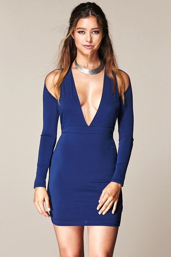 DEEP VNECK COLD SHOULDER DRESS - orangeshine.com