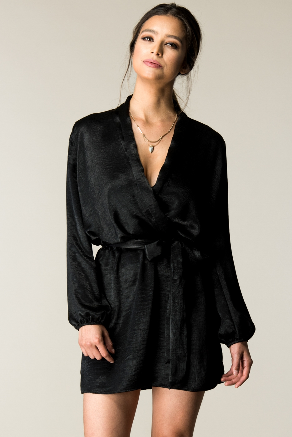 SLEEVE TIE WAIST WRAP DRESS - orangeshine.com